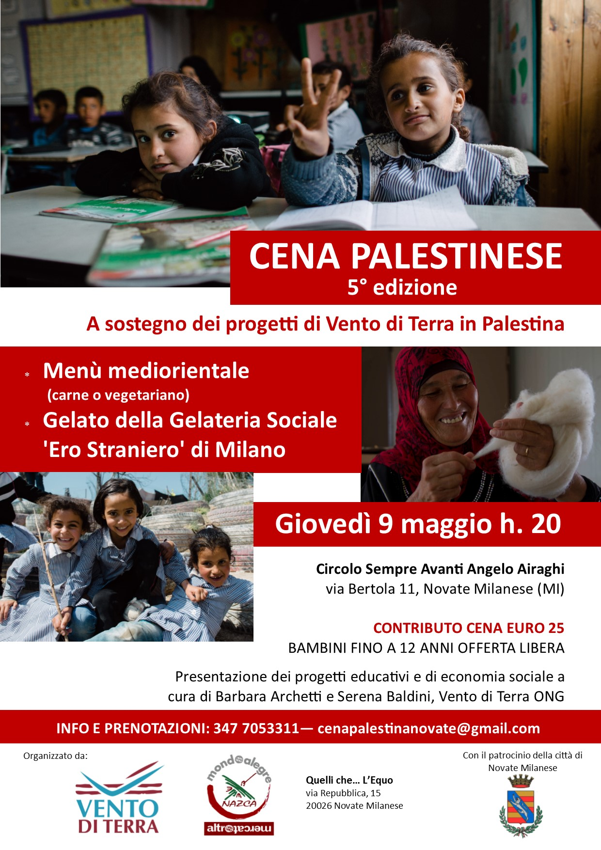 Via Bertola Novate Milanese Mi.Cena Palestinese Vento Di Terra Ong